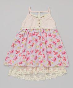 Love this Pink & Purple Rose Button Dress - Toddler & Girls on #zulily! #zulilyfinds