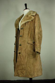 Vintage Womens Exposed Fur Sheepskin SHEARLING Rancher Fur Coat ...