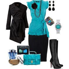 Black and teal, created by rknudsen on Polyvore