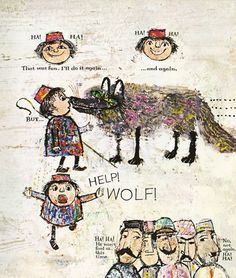 The Boy Who Cried Wolf Aesop's Fables ~ selected by Louis Untermeyer ~ pictures by Alice and Martin Provensen ~ Golden, 1965 Alice Martin, Handwritten Text, Dream Book, Vintage Children's Books, Vintage Kids, Animal Books, Sketchbook Inspiration, Children's Book Illustration, Drawing