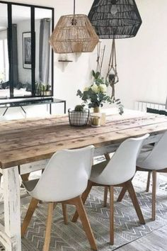 Gray Dining Chairs, Plastic Dining Chairs, Dining Room Inspiration, Dream Home Design, White Rooms, Dining Room Design, Contemporary Furniture, Room Decor, Instagram