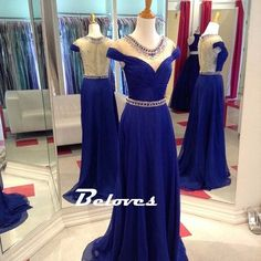 Royal Blue Cap Sleeves Prom Dress With Sheer Back