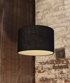 Black Burlap Pendant Drum Lampshade With Bottom Diffuser