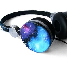 SALE-Space Galaxy Nebula Cosmic headphones earphones hand painted ($45) ❤ liked on Polyvore featuring accessories, headphones, electronics, galaxy and beats