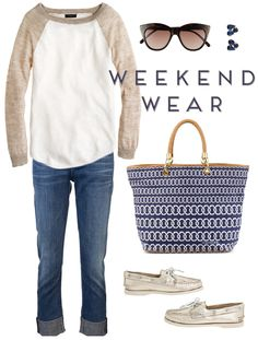 easy weekend wear featuring @J.Crew @Claudia Magers of Humanity @C. Wonder @Kat Ellis spade new york @Sarah Perry Top-Sider + @L E Specs.