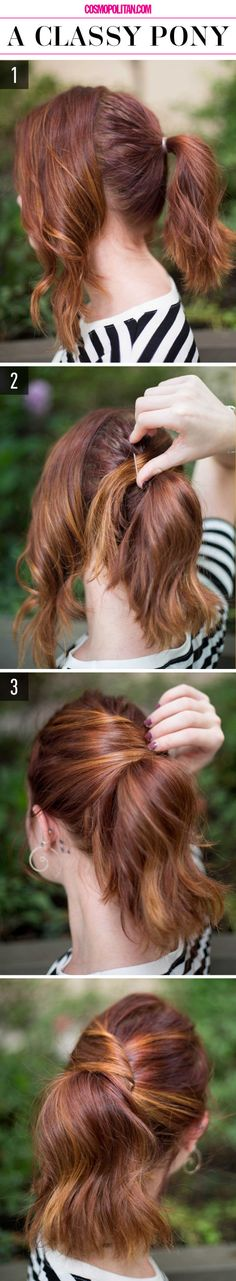 15 Super-Easy Hairstyles for Lazy Girls Who Can't Even. Simple classy ponytail for medium to long hair