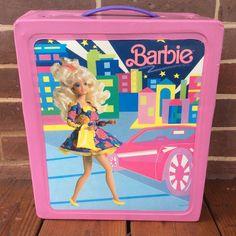 Vintage 1989 Pink Barbie Doll Trunk Vinyl Carrying Storage Case Wardrobe 12010 | eBay