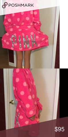 Make an offer 😍 VS Pink robe Super cute hot pink with light pink dots says pink in sliver sequins. Pre loved. Size medium/large. Brand pink Victoria's Secret PINK Victoria's Secret Intimates & Sleepwear Robes