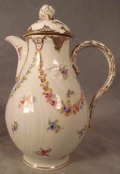 German Porcelain Chocolate Demitasse Pot Teapot Dresden Saxonia.