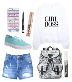 """""""Girl's Rule School day"""" by barbiecar ❤ liked on Polyvore featuring Candie's, Glamorous, Vans, Casetify, Urban Decay and Rimmel"""