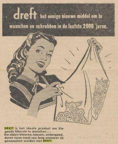Het eerste synthetische wasmiddel (Dreft) komt op de markt op 10 oktober 1933. (Advertentie uit januari 1950)