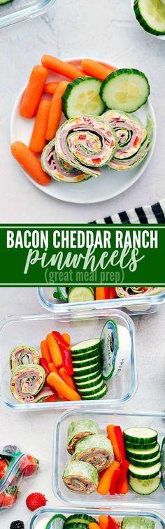 Delicious cheddar, bacon, and ranch pinwheels make a delicious and easy meal prep! via chelseasmessyapron.com