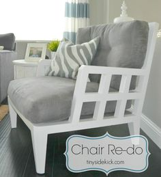 Vintage Chair Redo {Before and After} Fell in love with the lines of this chair that I found at a garage sale for 35 bucks.  It did not look like this then... #furnitureredo #paintedfurniture #thrifting