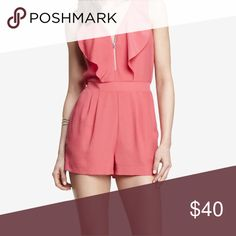 Pink romper from express Pink ruffle romper with zipper in the front, worn twice, good condition. Express Other