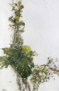 Anna Maria Tsakali(Greek, Monstera deliciosa via Purple Plants, Exotic Plants, Yellow Roses, Red Flowers, Monstera Deliciosa, Botanical Art, Pansies, Pet Birds, Illustration Art