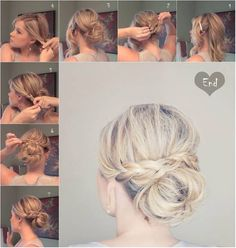 Trendy Messy Braid Bun Updos Messy Braid Bun for Medium Hair: Updos Tutorials.hair for mom's wedding?Messy Braid Bun for Medium Hair: Updos Tutorials.hair for mom's wedding? Updo Hairstyles Tutorials, Pretty Hairstyles, Easy Hairstyles, Wedding Hairstyles, Hairstyle Ideas, Hair Ideas, Hairdos, Wavy Haircuts, Medium Haircuts
