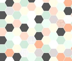 Mint Coral Hexagon fabric by tycdesignco on Spoonflower - custom fabric