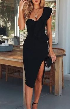 Trixy Black One Shoulder Bandage Dress