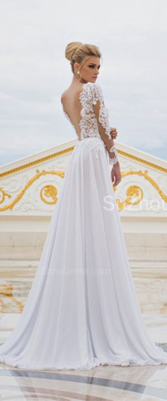 Sexy Long Sleeve V-Neck Wedding Dresses 2015