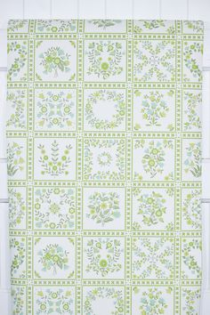 1970s floral botanical squares of green