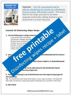 Homemade DIY disinfecting wipes with essential oils made naturally using CDC recommendations. DIY Lysol wipes, DIY Clorox wipesDisinfectants are generally …