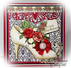 Heartfelt Creations All Glammed Up birthday card, Nancy Hill Creative Moments Heartfelt Creations All Glammed Up Shoe, Heartfelt Creations Classic Rose