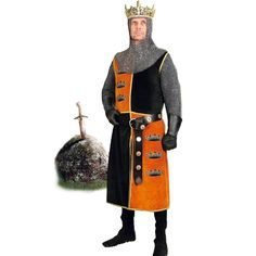 The Arthur Pendragon Surcoat is the royal surcoat of King Arthur and is made of quartered black and gold cotton velvet with the three crowns of Arthur Pendragon emblazoned on the front gold panels. Medieval Knight Costume, The Three Crowns, King Arthur, Cotton Velvet, Coat Of Arms, Costumes, Happenings, Renaissance, Camel