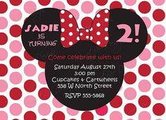 Minnie Mouse Birthday Invitation Custom by SweetBeeDesignShoppe