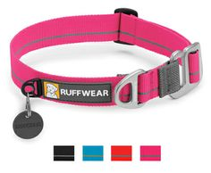 The Ruffwear Crag Collar dog collar offers a fresh approach with our unique aluminum Talon Hook closure. The Crag Collar is strong while also being quick and easy to take on and off. Packed full of Ruffwear's essential collar features: a separate ID tag attachment point, strong and comfortable webbing, and aluminum V-ring.