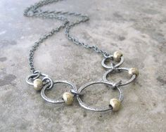 silver rings necklace oxidized silver necklace by theBeadAerie, $67.00