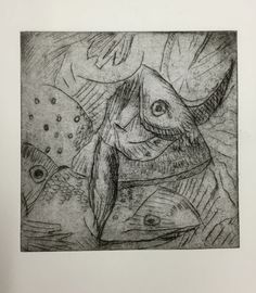 Drypoint print of fish heads, ink on paper, by Michael Fredman Scale Art, Artworks, Sculptures, Sketches, Fish, Drawings, Paper, Painting, Art Pieces