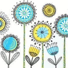 print pattern: DESIGNER - ellen crimi trent - use my circle design stamps for middle then doodle Doodle Patterns, Zentangle Patterns, Embroidery Patterns, Print Patterns, Zentangles, Flower Patterns, Doodle Designs, Doodle Drawings, Doodle Art