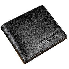 146d6a6327e97 Minlop Herren Schlanke Kunstleder RFID-Schutz Ledergeldbörse Geldbörse ID  Kreditkarteninhaber Brieftasche - Braun Schwarz