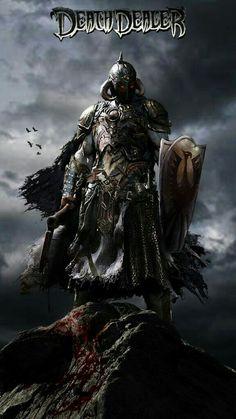 Death Dealer by John Gallagher. High Fantasy, Dark Fantasy Art, Dark Art, Frank Frazetta, Fantasy Paintings, Fantasy Artwork, Myths & Monsters, Red Sonja, Conan The Barbarian