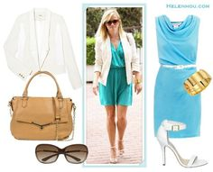 How to wear a white blazer; colorful office outfit idea; how to wear colored dress; wedding guest outfit ideas; how to wear strappy sandal; On Reese Witherspoon:J Brand Ready-to-Wear Combo white Jacket/blazer,blue green dress, white ankle strap sandal, gold cuff, valentino brown bag  Alternatives:  Diane Von Furstenberg Julissa blue dress,  Steve Madden REALOVE two strap sandals,   Botkier Valentina Satchel,  Tom Ford 'Jennifer' 61mm Oval Frame oversize Sunglasses,  Safety gold Chain Cuff…