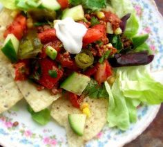 Vegetarian Taco Salad - Low Fat from Food.com: No meat or meat substitutes - great for winter days when fresh veggies are hard to find. Yummy vegetarian taco salad that even my 11 year old enjoys. Polenta corn chips have only 3.5g of fat per ounce - I use SOLEA polenta chips.