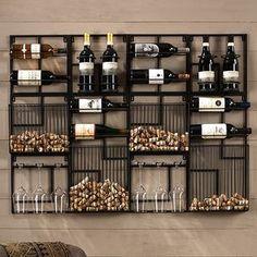 Modular Cork Catcher System – Home bar designs Canto Bar, Wine Rack Design, Wine Rack Wall, Wine Wall Decor, Wine Decor For Kitchen, Wall Mounted Wine Racks, Wine Bottle Holder Wall, Wine Rack Shelf, Wine Bottle Display