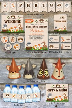 Woodland Birthday Party Package  Woodland Animal Birthday