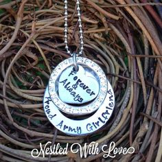 Personalized Hand Stamped Army Girlfriend Necklace  on Etsy, $38.00
