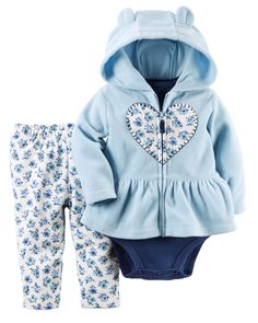 Crafted in plush fleece with a cozy hood and peplum hem, this cardigan set is complete with a soft cotton bodysuit and pants. Shop all sets now!