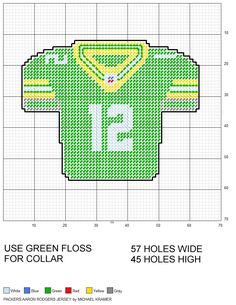 Green Bay Packers Aaron Rodgers NFL Football Jersey plastic canvas pattern by Michael Kramer