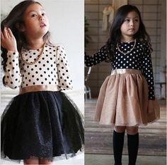 Nueva 2015 otoño invierno 3-8 años ropa de bebé niñas niños vestidos para la muchacha partido ropa manga larga Polka Dot vestido princesa