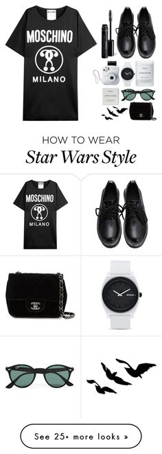 """"" by anomalyyy on Polyvore featuring Moschino, Byredo, Bare Escentuals, Nixon, Chanel, Ray-Ban, women's clothing, women, female and woman"