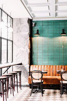 design - See How This Scandinavian Restaurant Does the Classic Parisian Bistro Restaurant Design, Deco Restaurant, Colorful Restaurant, Modern Restaurant, Cafe Interior Design, Cafe Design, Bistro Design, Bistro Interior, Classic Interior