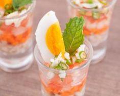 Salade de surimi aux œufs en verrines Croq'Kilos : http://www.fourchette-et-bikini.fr/recettes/recettes-minceur/salade-de-surimi-aux-oeufs-en-verrines-croqkilos.html
