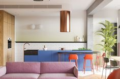 Bright Apartment With Clean White Decor, Wood Accents & Green Plants Colorful Kitchen Decor, Kitchen Colors, Kitchen Interior, Kitchen Design, Futuristisches Design, Design Ideas, Sala Grande, Sweet Home, Built In Furniture