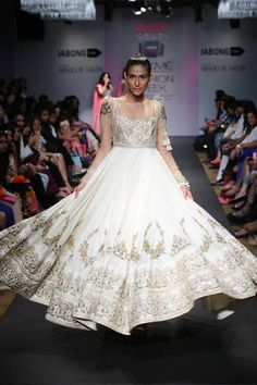 Anushree Reddy Lakme Fashion Week Summer Resort 2014 white ivory gold gown net anarkali #lakmefashionweek