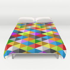 Modern Geometric fun Colourful triangle galore pattern Duvet cover by #PLdesign‬ #geometric #ColorfulTriangles