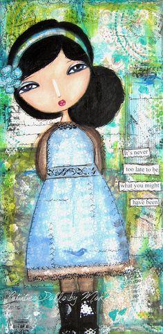 Mixed Media Painting  It's Never Too by PetitesDollsbyMoki on Etsy,