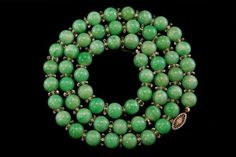 ANTIQUE CHINESE APPLE GREEN JADE BEADS ROCK CRYSTAL 18K GOLD NECKLACE (06011501)   £1,330.60 (22B)